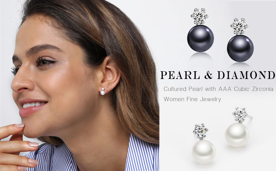 Fashion women earrings glass round small pearl fine jewelry accessories stud earrings