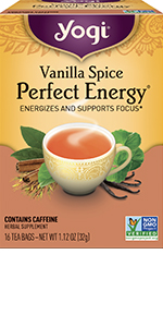 yogi tea vanilla spice perfect energy energizes and supports focus