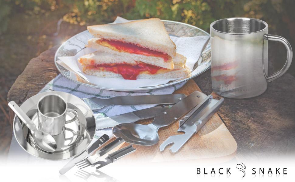 Black Snake Juego de vajilla de acero inoxidable para camping ...