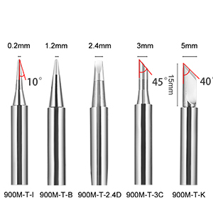 5 different shapes and sizes of tip