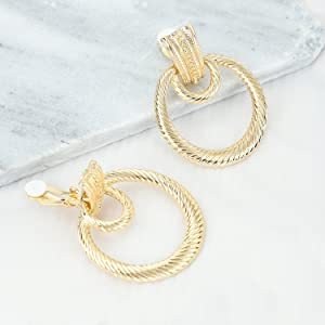 SP Sophia COLLECTION Women's Boho Chic Double Looped Round Etched Metal Clip On Earrings