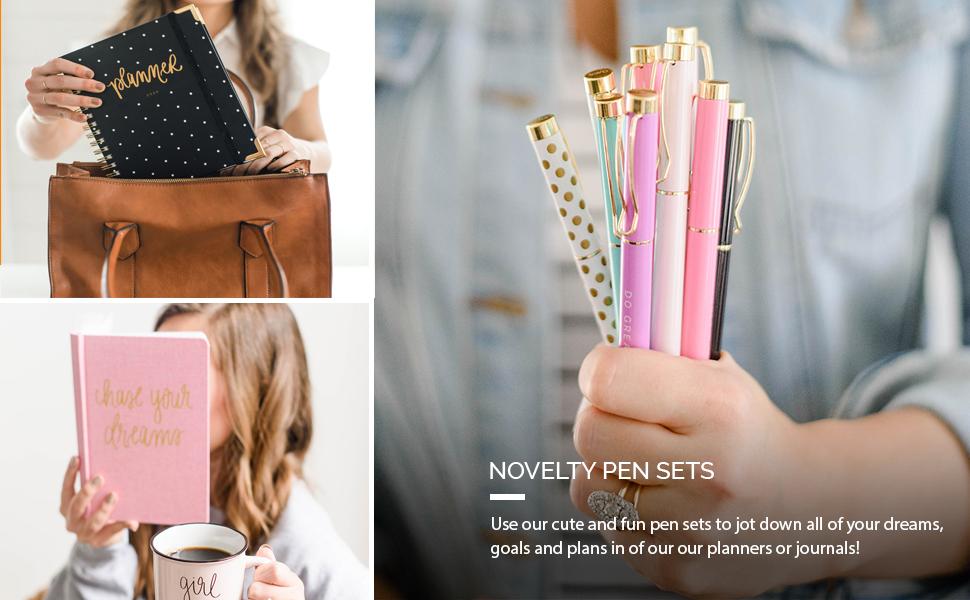 sweet water decor, pen set, motivational pens, inspirational pens, colorful pen set, pen set gift