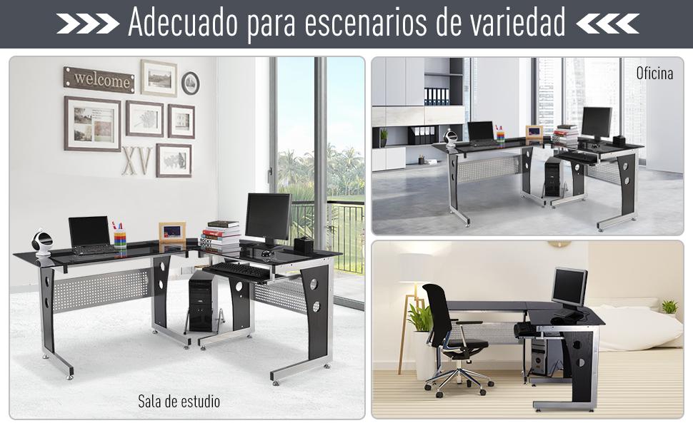 Mesa de Oficina Tipo Escritorio para Ordenador de Cristal ala ...