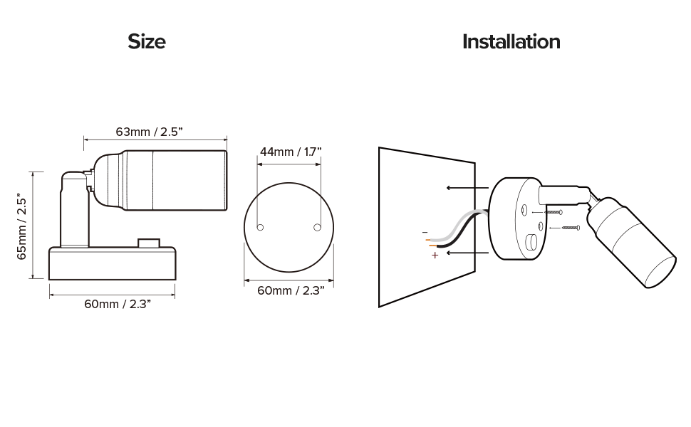 size and installation