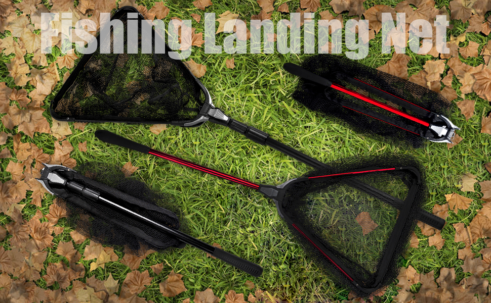 Folding Aluminum Fishing Landing Net Fish Net with Extending Telescoping Pole Handle