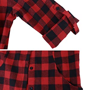 Hawiton Camisas Cuadros Mujer Blusas Franela de Manga Larga Casual Básico Check Shirt con Botones