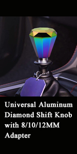 Universal Aluminum Diamond Shift Knob with 8/10/12MM Adapter