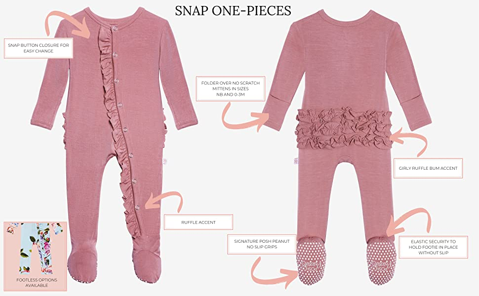 Newborn Sleepers Girls Clothes Kids One Piece PJ Soft Viscose from Bamboo Posh Peanut Baby Ruffled Cap Sleeve Rompers