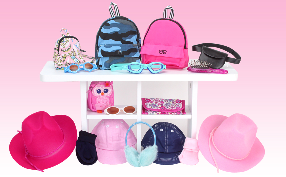 doll accessories, hats, goggles, brushes, purse, backpack, glasses