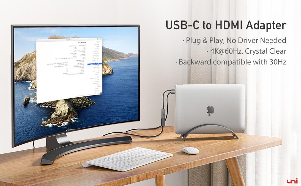 USB C auf Dual HDMI Adapter 4K MacBook Air Surface uni USB C HDMI Adapter XPS Surface Book 2 usw. unterst/ützt 4K@60Hz und Dual 4K@30Hz Monitor Adapter Kompatibel mit MacBook // MacBook Pro