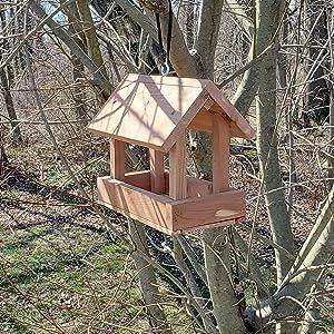 Wakefield Premium Handmade Birdhouses Hanging Cottage House Bird Feeder outside
