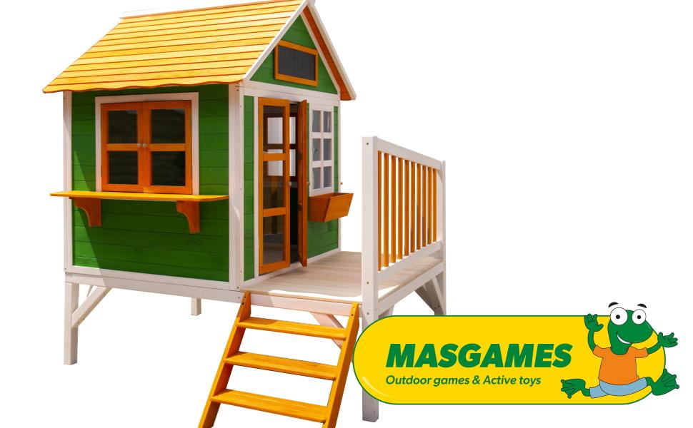 MASGAMES | Casita FLAM elevada | Versión con Plataforma de 60 cm de Altura y tobogán | Uso doméstico | para Exterior |: Amazon.es: Juguetes y juegos