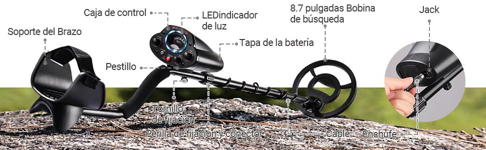Detector de Metales, TACKLIFE Detector Profesional, Ajustable y ...