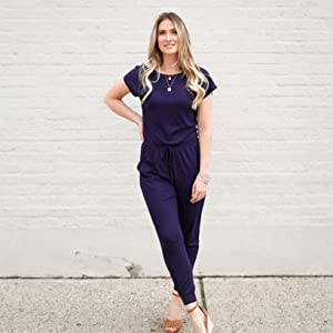 DouBCQ Womens Summer Casual Short Sleeve Elastic Waist Jumpsuits with Pockets