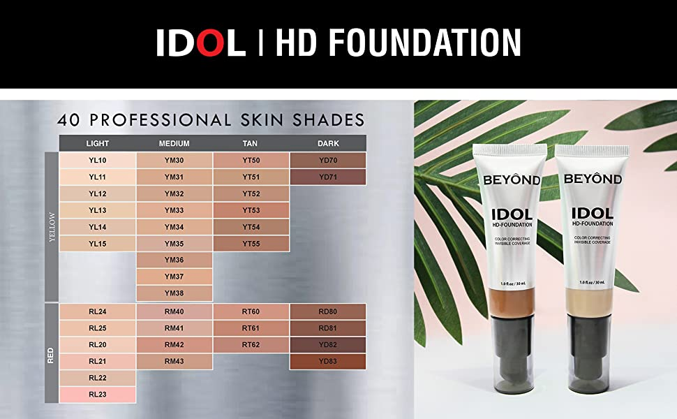 BEYOND IDOL HD FOUNDATION PROFESSIONAL FACE MAKEUP INVISIBLE COVERAGE AND COLOR CORRECTING