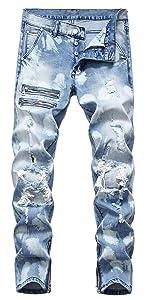 button jean men Skinny Slim Fit Ripped Distressed Stretch Jean Pants destroyed jean men blue skinny