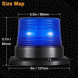 magnetic blue strobe beacon light with 16 feet cord