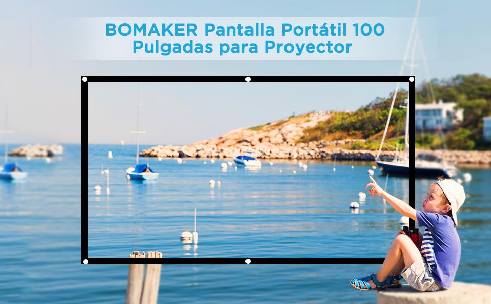 BOMAKER Pantalla de Proyector de 100 Pulgadas, 16:9, Soporta HD ...