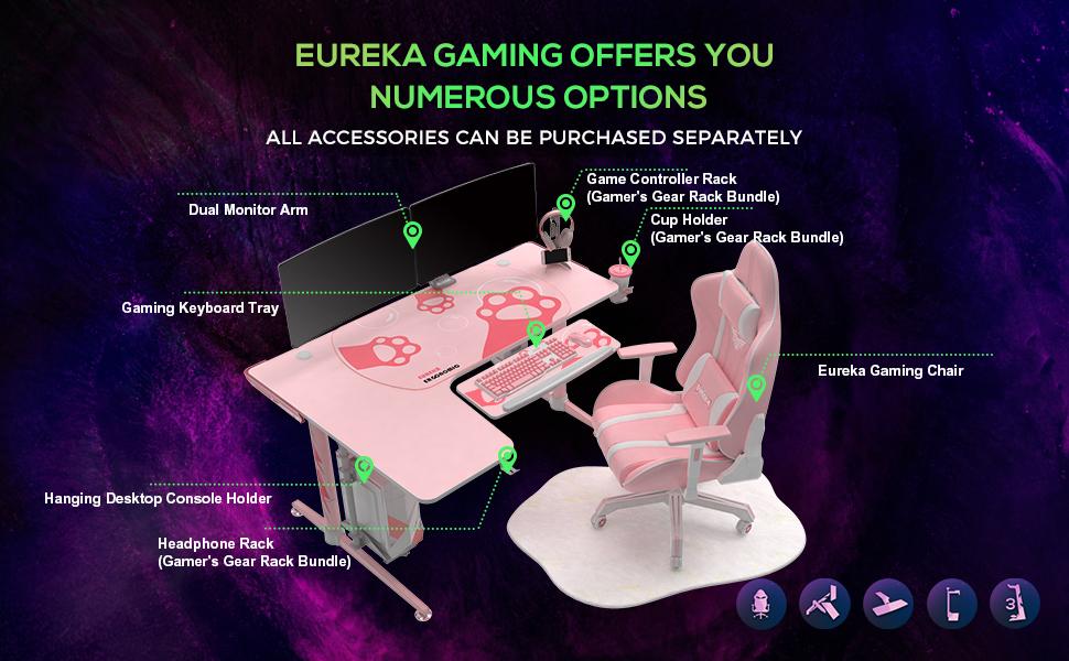 pink large gaming desk