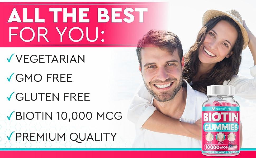 (2pack) Biotin Gummies - 10,000mcg [Highest Potency] - Best Hair, Skin, and Nails Gummies for Women