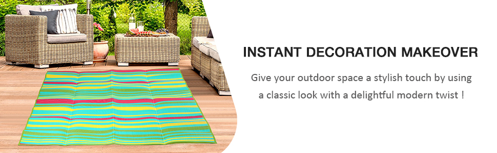 Outdoor Rug - Outdoor Area Rugs , Plastic Straw Patio Rugs, Reversible RV Camping Mats
