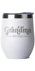 grandma Birthday Gifts for Women Men - 12 oz Mint Insulated Stainless Steel Tumbler w/Lid