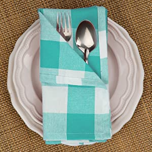 Checkered napkins blue and white