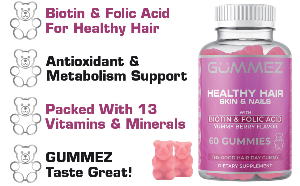 Biotin amp; Folic Acid For Healthy Hair, Antioxidant amp; Metabolism Support, 13 Vitamins amp; Minerals