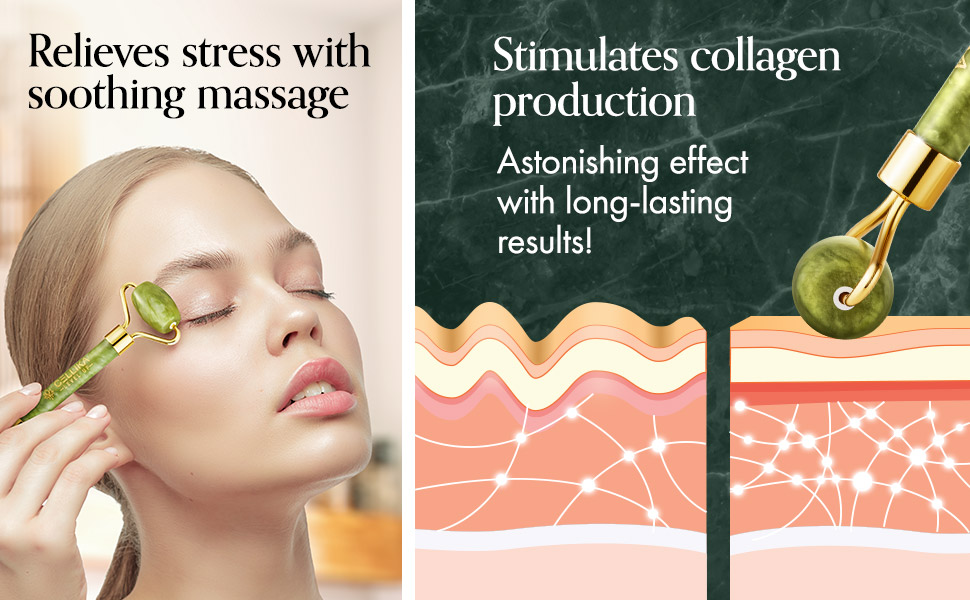 jade roller and gua sha set for stress relief collagen stimulate blood circulation skincare tools