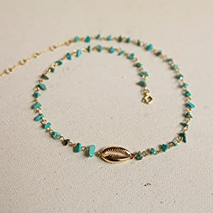 natural turquoise stone choker with gold dipped shell benevolence la necklace for women