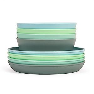 kids plates and bowls set bamboo