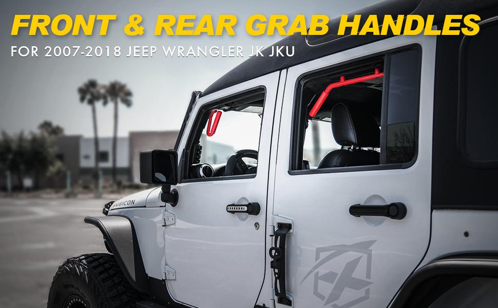 u-Box Jeep Wrangler Front /& Rear Red Hard Mount Solid Steel Grab Handle Bar for 2007-2018 Jeep Wrangler JK