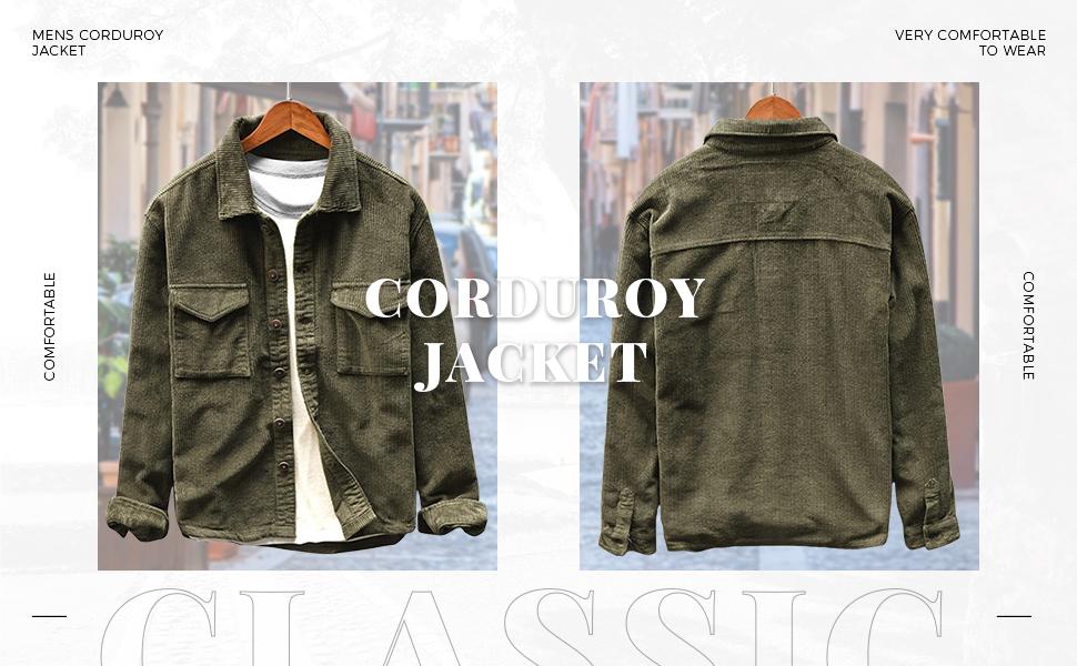mens jacket shirt Corduroy Trucker Jacket
