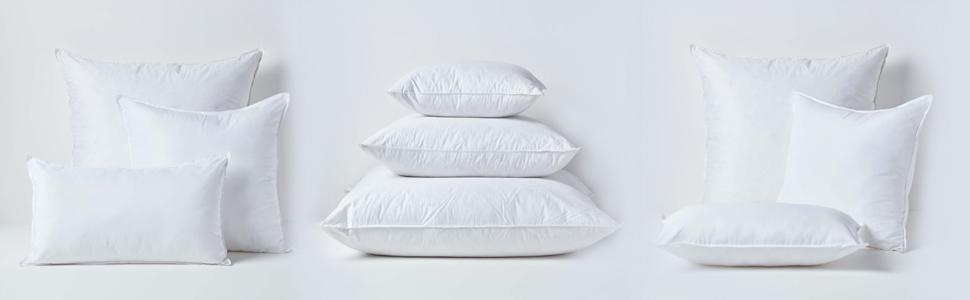 HOMESCAPES Oreiller ou Coussin Rajput de de 60 x 60 cm en Pur Coton de Couleur Blanc Naturel
