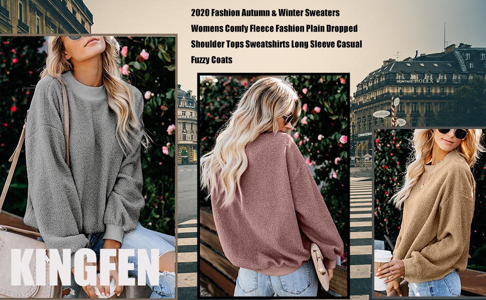 KINGFEN Women Fuzzy Sherpa Fleece Sweater Casual Crewneck Sweatshirt Pullover