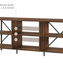 Furnitela Living Room Furniture TV Stand Bookshelf Wood Brown