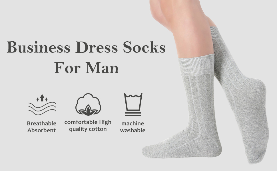 Middle Stocking Super Soft Dress Socks Comfortable Classic Crew Sock Black Solid /& Rib Design and Color Patterns