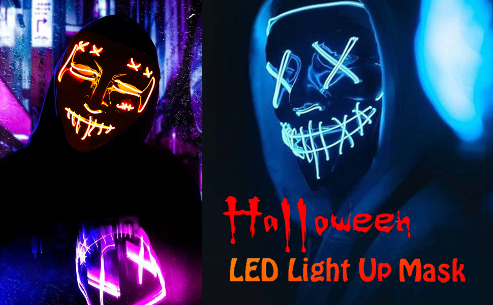 Halloween Led light up purge mask