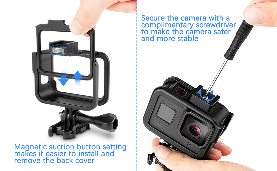 iTrunk Frame Compatible for Gopro Hero 8 Action Camera Case Aluminum Protective Housing Shell Accessories with Quick Pull Movable Socket and Screw ...