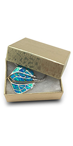 Cotton Filled Cardboard Paper Jewelry Box Gift Case - Gold Foil