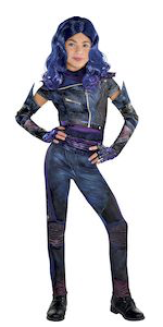 mal costume closeup, blue and purple fingerless gloves, costume accessories, cool look, moto designs
