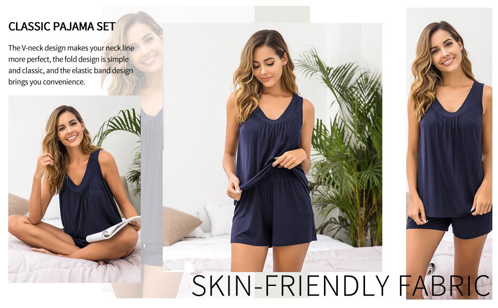 womens sleeveless pajama set tank set