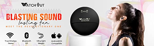 Watchout Wearables, Earphone, Earpods, TWS, Wireless earbuds, True wireless, bluetooth headphones