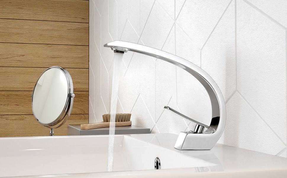 Bonade Wasserhahn Bad Waschtischarmatur Waschbecken Mischbatterie Badarmatur Armatur Einhandmischer Wasserhahn Bad Aus Messing Verchromt Baumarkt