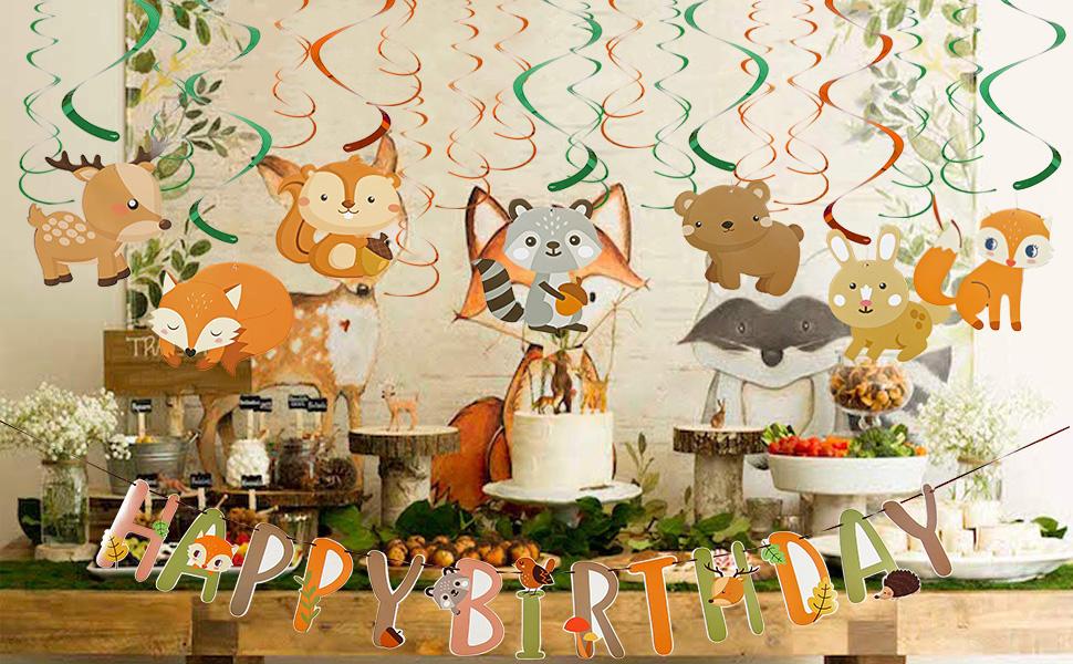 Easy Joy Decoration Anniversaire Enfant Animaux Foret Kit Renard Herisson Tourbillon Suspendu Deco Happy Birthday Banner Animal Pour Bebe Garcon Fille Amazon Fr Cuisine Maison