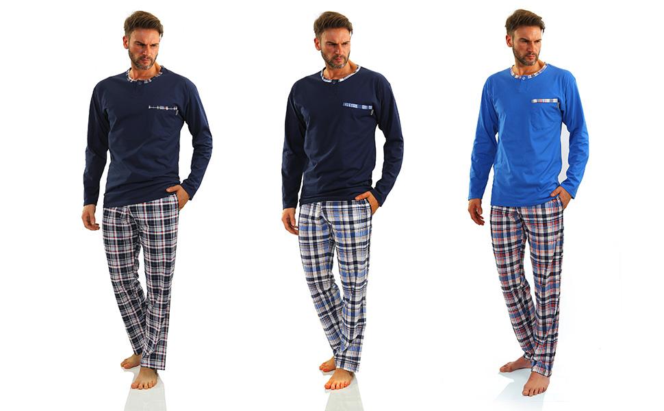 Pyjama Herren Kariert Baumwolle Zweiteiliger Schlafanzug Lang Hausanzug Langarm Shirt und Pyjamahose