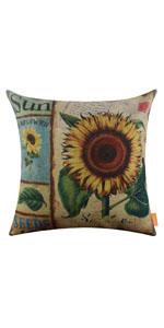 "LINKWELL 18""x18"" Shabby Chic Vintage Sunflower Retro Burlap Pillow Cover"