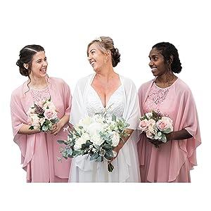 Bridal party chiffon shawl wraps