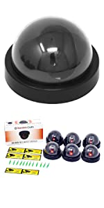 Fake Security Camera - Dummy Security Camera CCTV Dome Surveillance with Flashing Red LED Light