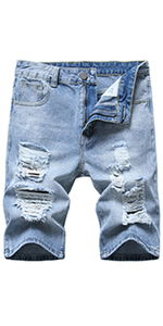 Men's Casual Denim Shorts Distressed Stretchy Jeans Shorts Ripped Short Jeans